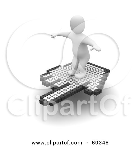 Royalty-Free (RF) Clipart Illustration of a 3d Blanco Man Character Surfing On A Hand Cursor - Version 1 by Jiri Moucka