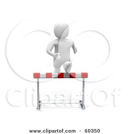Royalty-Free (RF) Clipart Illustration of a 3d Blanco Man Character Running Forward And Leaping Over A Hurdle by Jiri Moucka