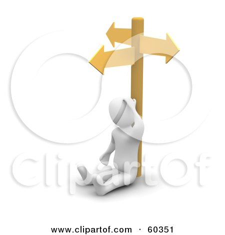 Royalty-Free (RF) Clipart Illustration of a Stumped 3d Blanco Man Character At A Crossroads by Jiri Moucka