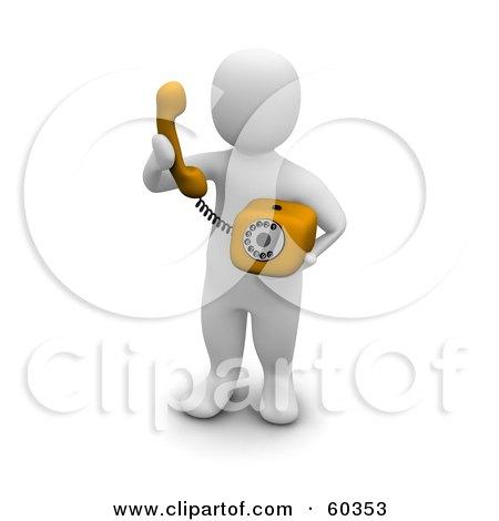 Royalty-Free (RF) Clipart Illustration of a 3d Blanco Man Character Making A Phone Call by Jiri Moucka