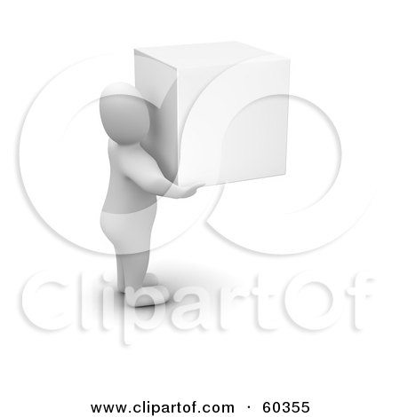 Royalty-Free (RF) Clipart Illustration of a 3d Blanco Man Character Carrying A White Cube by Jiri Moucka