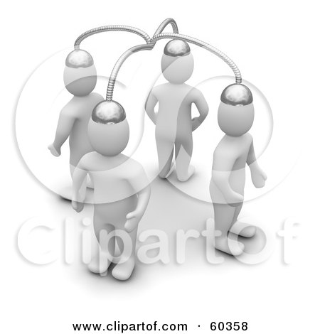 Royalty-Free (RF) Clipart Illustration of Four 3d Blanco Man Characters With Their Brains Connected by Jiri Moucka