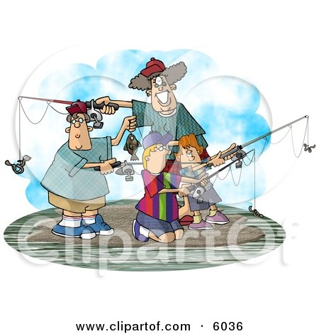 Family Fishing Together On an Island Clipart Picture by djart