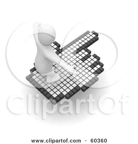 Royalty-Free (RF) Clipart Illustration of a 3d Blanco Man Character Surfing On A Hand Cursor - Version 2 by Jiri Moucka