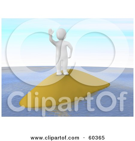 Royalty-Free (RF) Clipart Illustration of a 3d Blanco Man Character Waving From A Small Island by Jiri Moucka