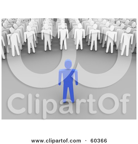 Royalty-Free (RF) Clipart Illustration of a 3d Blue Guy Speaking To White Men by Jiri Moucka