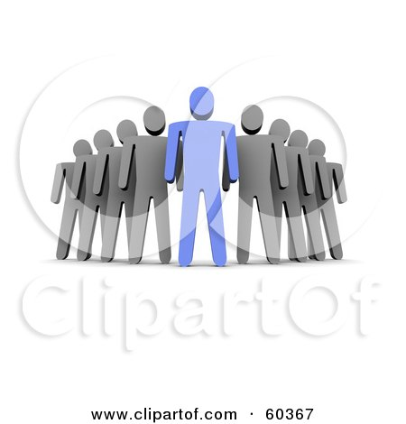 Royalty-Free (RF) Clipart Illustration of a 3d Gray Guys Standing Behind A Blue Guy by Jiri Moucka
