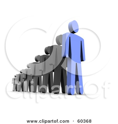 Royalty-Free (RF) Clipart Illustration of a 3d Blue Guy Leading Black Men by Jiri Moucka