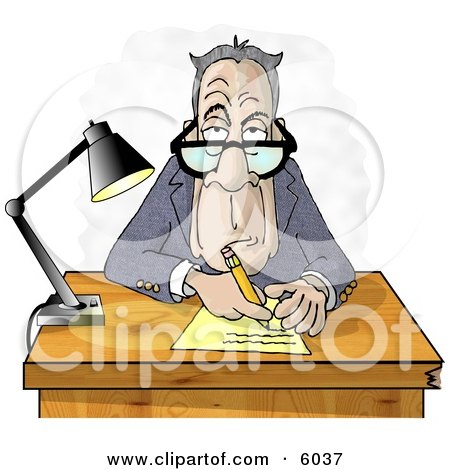 Clipart Of A Grumpy Crotchety Old Bespectacled White Businessman Interviewing Someone and Taking Notes - Royalty Free Illustration by djart