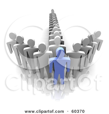 Royalty-Free (RF) Clipart Illustration of a 3d Blue Guy At The Front Of An Arrow Made By Gray Men by Jiri Moucka