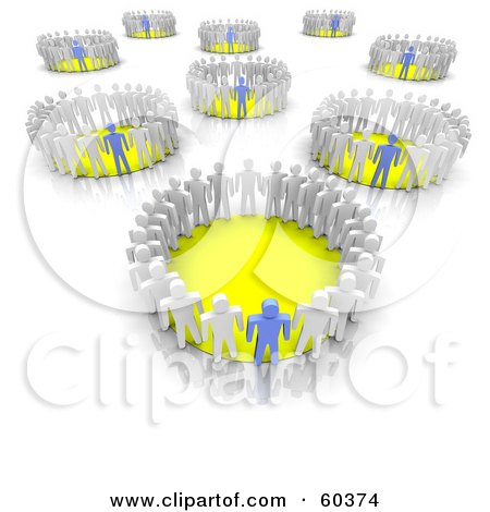 Royalty-Free (RF) Clipart Illustration of 3d Groups Of White People Lead By Blue Team Leaders, Standing In Circles by Jiri Moucka