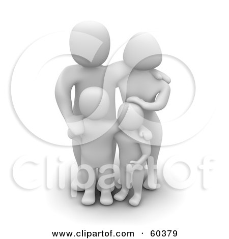 Royalty-Free (RF) Clipart Illustration of a Happy 3d Blanco Man Character Family Of Four by Jiri Moucka