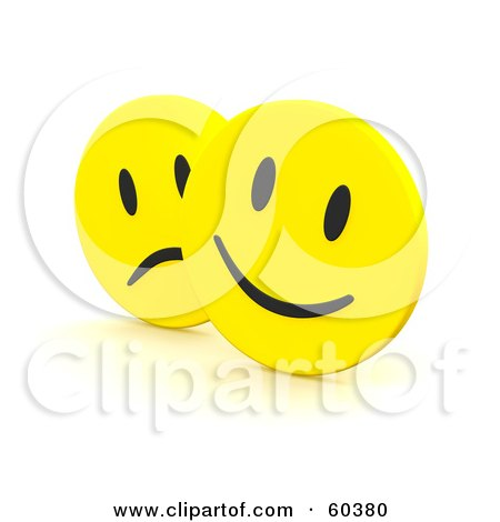 Royalty-Free (RF) Clipart Illustration of Yellow Happy And Sad Emoticon Faces by Jiri Moucka