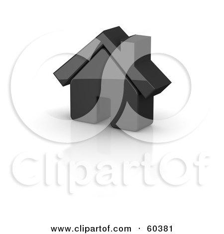 Royalty-Free (RF) Clipart Illustration of a Shiny 3d Black House by Jiri Moucka