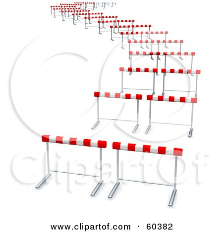 Royalty-Free (RF) Clipart Illustration of Curvy Path Of Hurdles by Jiri Moucka