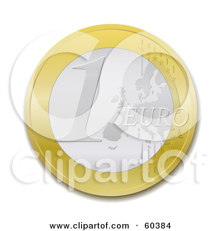 Royalty-Free (RF) Clipart Illustration of a One Euro Coin - Version 2 by Oligo