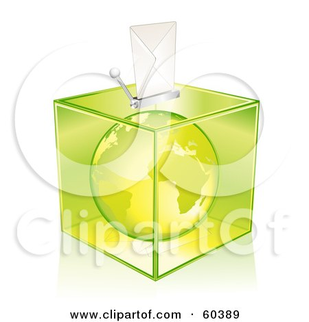 Royalty-Free (RF) Clipart Illustration of a Green Europe Globe In A Transparent Ballot Box by Oligo