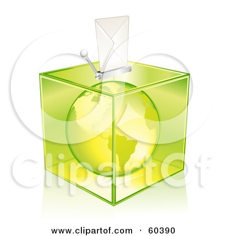 Royalty-Free (RF) Clipart Illustration of a Green America Globe In A Transparent Ballot Box by Oligo