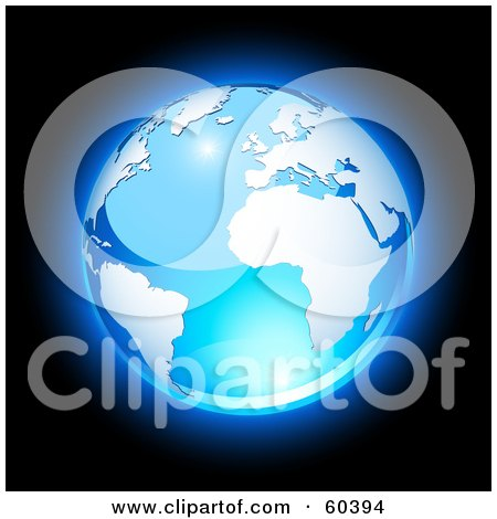 Royalty-Free (RF) Clipart Illustration of a Shiny Blue Globe With South America, Africa, And The Atlantic Ocean - Version 2 by Oligo
