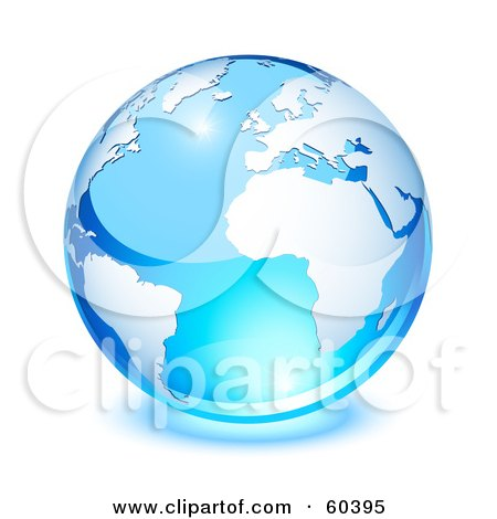 Royalty-Free (RF) Clipart Illustration of a Shiny Blue Globe With South America, Africa, And The Atlantic Ocean - Version 1 by Oligo