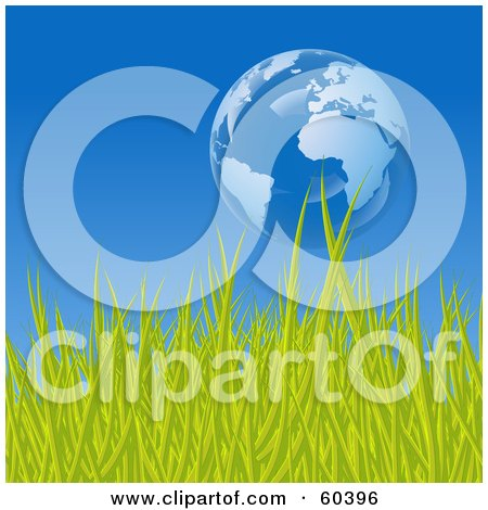 Royalty-Free (RF) Clipart Illustration of a Floating Bubble Globe Featuring Europe, Over Green Grass, Against A Blue Sky by Oligo
