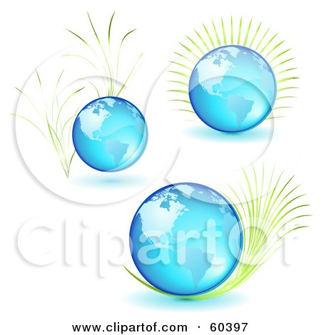 Royalty-Free (RF) Clipart Illustration of a Digital Collage Of Three Blue Glass Globes With Plants by Oligo
