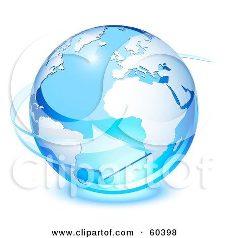 Royalty-Free (RF) Clipart Illustration of a 3d Blue Planet Earth With A Transparent Glass Arrow Circling by Oligo