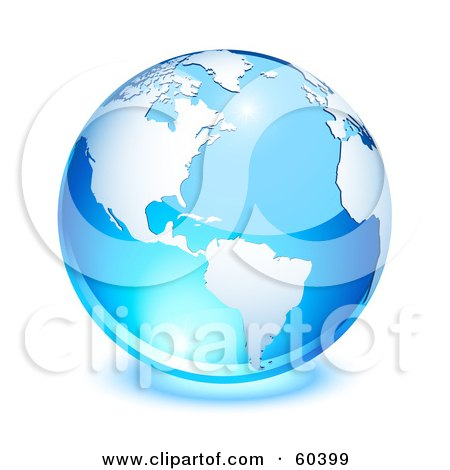 Royalty-Free (RF) Clipart Illustration of a Shiny Blue Globe With American Continent And The Atlantic Ocean - Version 1 by Oligo