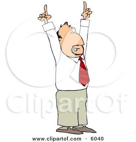 Businessman with an Idea Pointing Both of His Pointer Fingers Up Clipart Picture by djart
