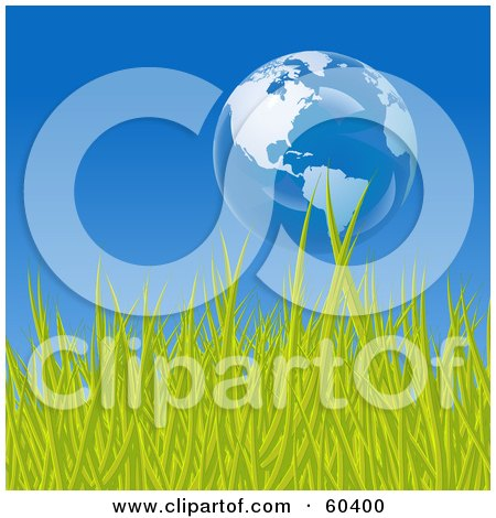 Royalty-Free (RF) Clipart Illustration of a Floating Bubble Globe Featuring The Americas, Over Green Grass, Against A Blue Sky by Oligo