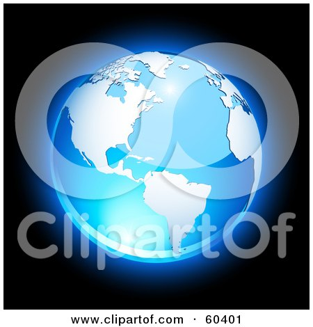 Royalty-Free (RF) Clipart Illustration of a Shiny Blue Globe With American Continent And The Atlantic Ocean - Version 2 by Oligo