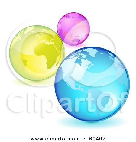 Royalty-Free (RF) Clipart Illustration of Three Pink, Yellow And Blue Planet Earths by Oligo
