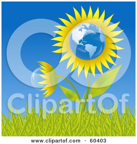 Royalty-Free (RF) Clipart Illustration of a Growing American Sunflower Globe In Grass, Against A Blue Sky by Oligo