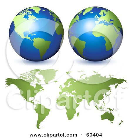Royalty-Free (RF) Clipart Illustration of Two 3d Globes Over A Green World Atlas by Oligo