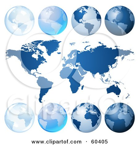 Royalty-Free (RF) Clipart Illustration of a Digital Collage Of Blue Globes And An Atlas by Oligo