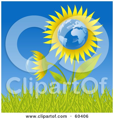 Royalty-Free (RF) Clipart Illustration of a Growing Europe Sunflower Globe In Grass, Against A Blue Sky by Oligo