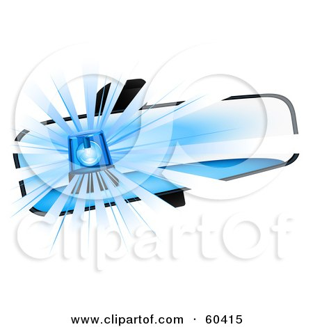 Royalty-Free (RF) Clipart Illustration of Blue Police Lights Reflecting In A Rear View Mirror by Oligo