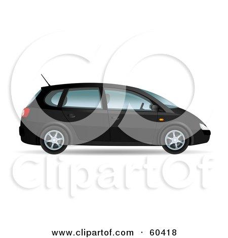 Royalty-Free (RF) Clipart Illustration of a Black 3d Mini Van With Four Doors by Oligo