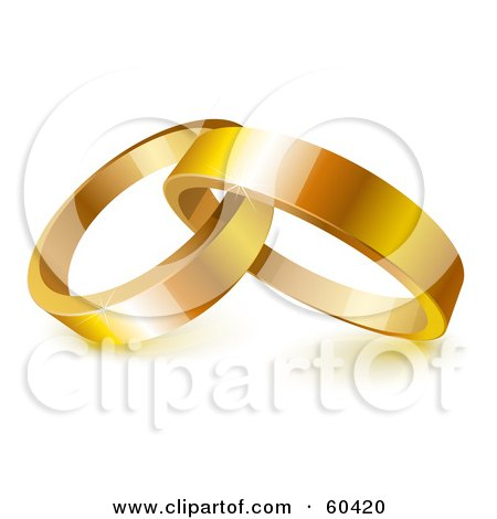 Royalty-Free (RF) Clipart Illustration of Two Shiny 3d Gold Wedding Rings Entwined by Oligo