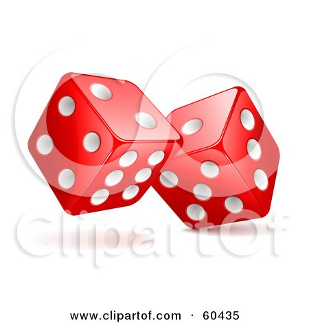 Royalty-Free (RF) Clipart Illustration of a Pair Of Rolling 3d White And Red Dice by Oligo