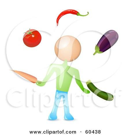 Royalty-Free (RF) Clipart Illustration of a Man Juggling Healthy Veggies by Oligo