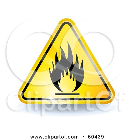 Royalty-Free (RF) Clipart Illustration of a 3d Shiny Yellow Fire Sign by Oligo