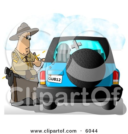 Californian Highway Patrolman Writing A Ticket To A Speeding Motorist Clipart Picture