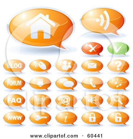 Royalty-Free (RF) Clipart Illustration of a Digital Collage Of Green And Orange Speech Bubble Website Icons by Oligo