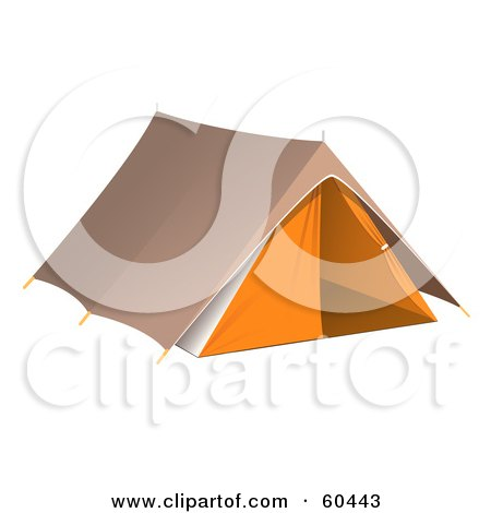 Royalty-Free (RF) Clipart Illustration of a Pitched Brown And Orange Camping Tent by Oligo