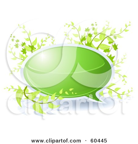 Royalty-Free (RF) Clipart Illustration of a Green Chat Bubble With Plants by Oligo