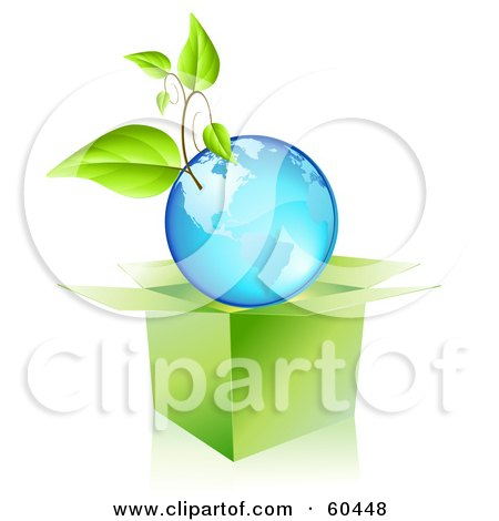 Royalty-Free (RF) Clipart Illustration of a Plant Growing On A Blue Globe Over An Open Box by Oligo