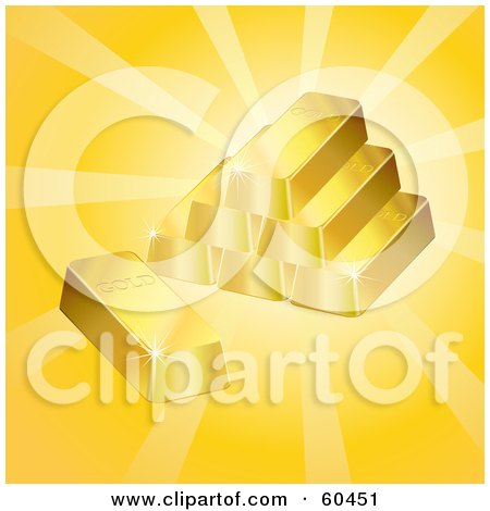 Royalty-Free (RF) Clipart Illustration of Stacked 3d Gold Bars With Bright Light by Oligo
