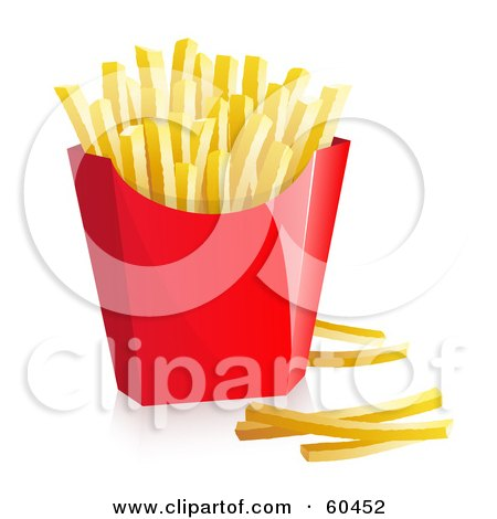 Royalty-Free (RF) Clipart Illustration of a Red Container Of Fast Food French Fries - Version 1 by Oligo