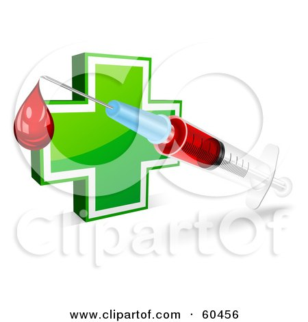 Royalty-Free (RF) Clipart Illustration of a Blood Droplet Dripping From A Syringe In Front Of A Green Cross by Oligo